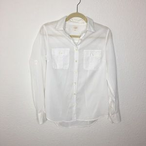 J. Crew The Perfect Tee White Button Up Top. Small